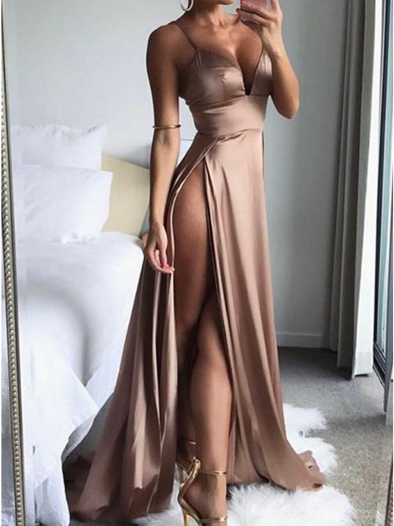 A Line V Neck Spaghetti Straps Satin Champagne Prom Dresses with High Split, Champagne Formal Dresses, Evening Dresses