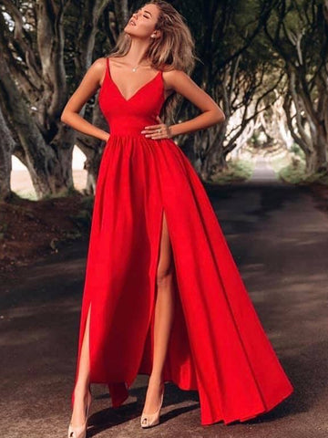 A Line V Neck Thin Straps Floor Length Red Prom Dresses with Slit, Red V Neck Formal Dresses, Red Evening Dresses