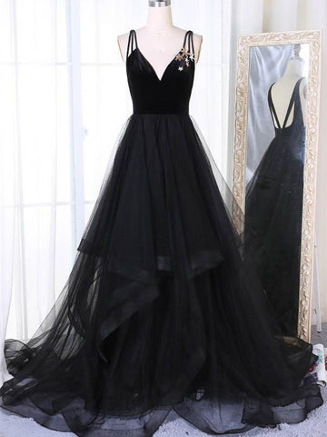 A Line V Neck Tulle Black Ball Gown, Black Prom Dresses, Black Formal Dresses