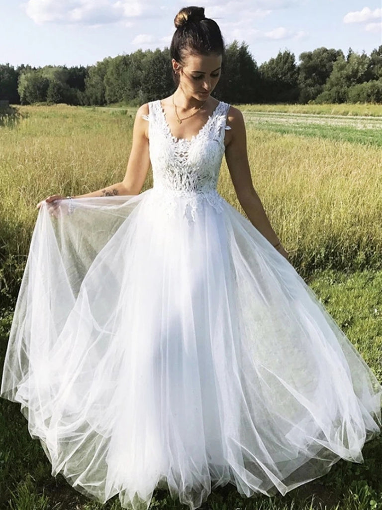 A Line V Neck Tulle Long Lace White Prom Dresses, V Neck White Lace Formal Dresses, Lace White Evening Dresses