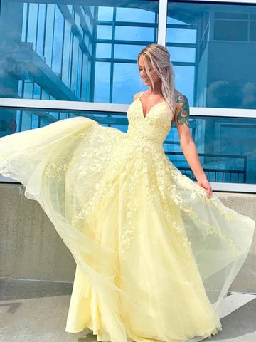 A Line V Neck Tulle Yellow Lace Long Prom Dresses, V Neck Yellow Lace Formal Dresses, Yellow Lace Evening Dresses