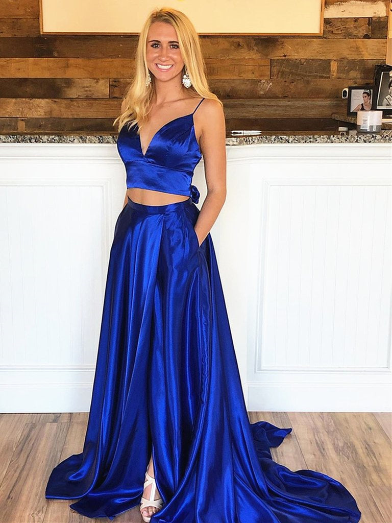 A Line V Neck Two Pieces Backless Royal Blue Prom Dresses with High Slit, 2 Pieces Royal Blue Formal Graduation Evening Dresses