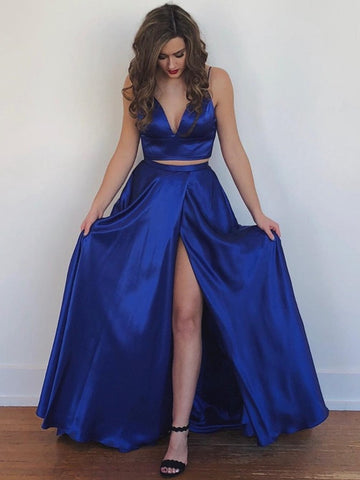 f4624ff9 A Line V Neck Two Pieces Backless Royal Blue/Yellow Prom Dresses with High  Slit
