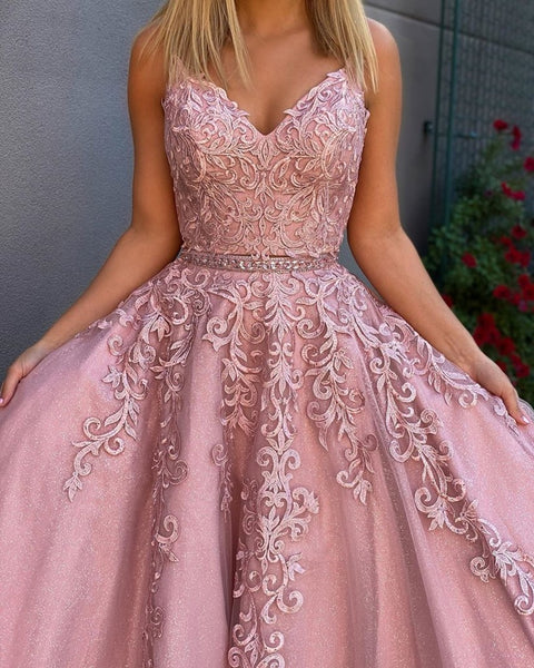 A Line V Neck Two Pieces Lace Appliques Pink Prom Dresses with Belt, 2 Pieces Pink Lace Formal Dresses, Lace Pink Evening Dresses