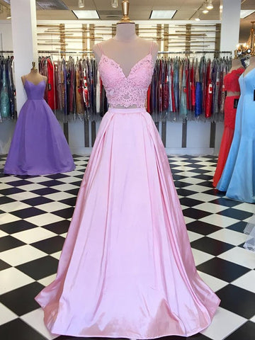 A Line V Neck Two Pieces Lace Top Pink Satin Long Prom Dresses, Pink Two Pieces Lace Formal Graduation Evening Dresses