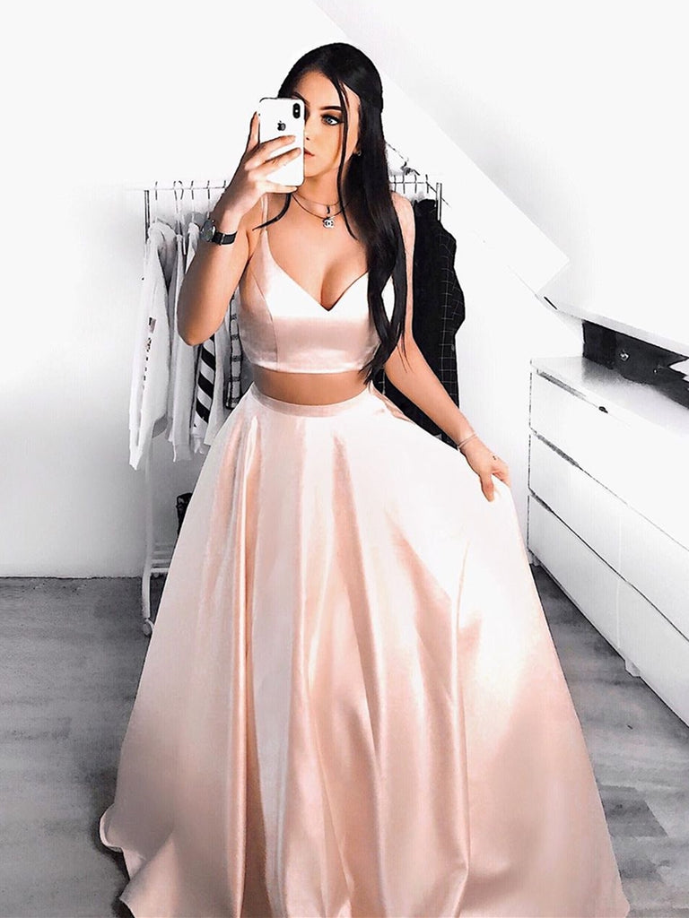 A Line V Neck Two Pieces Pink Satin Long Prom Dresses, Two Pieces Pink Formal Dresses, Pink Evening Dresses Party Dresses
