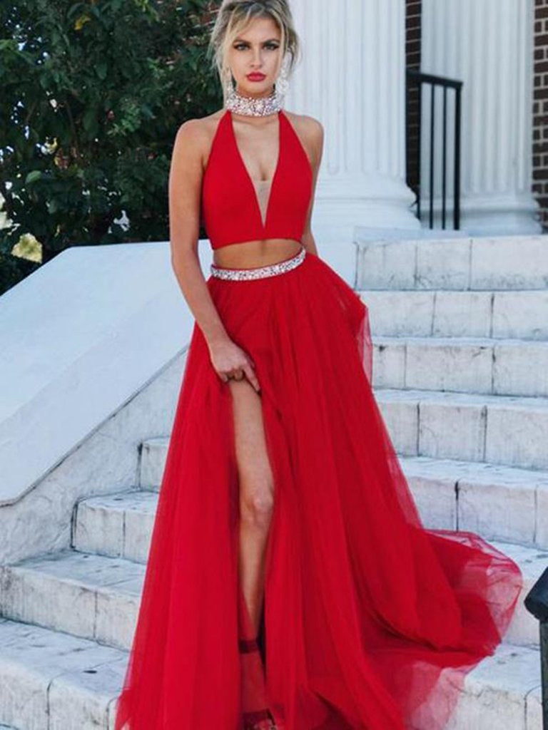 3611e13556a A Line V Neck Two Pieces Tulle Red Long Prom Dresses with Slit