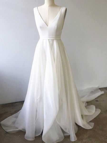 A Line V Neck White Prom Dresses with Train, V Neck Formal Wedding Dresses with Train, White Evening Dresses
