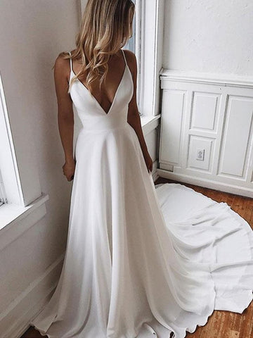 A Line V Neck White Wedding Dresses with Sweep Train, White V Neck Long Prom Dresses, White Formal Dresses Evening Dresses