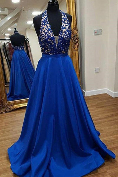 A Line V neck Backless Lace Black Prom Dresses with Pockets, Black Formal Dresses, Evening Dresses