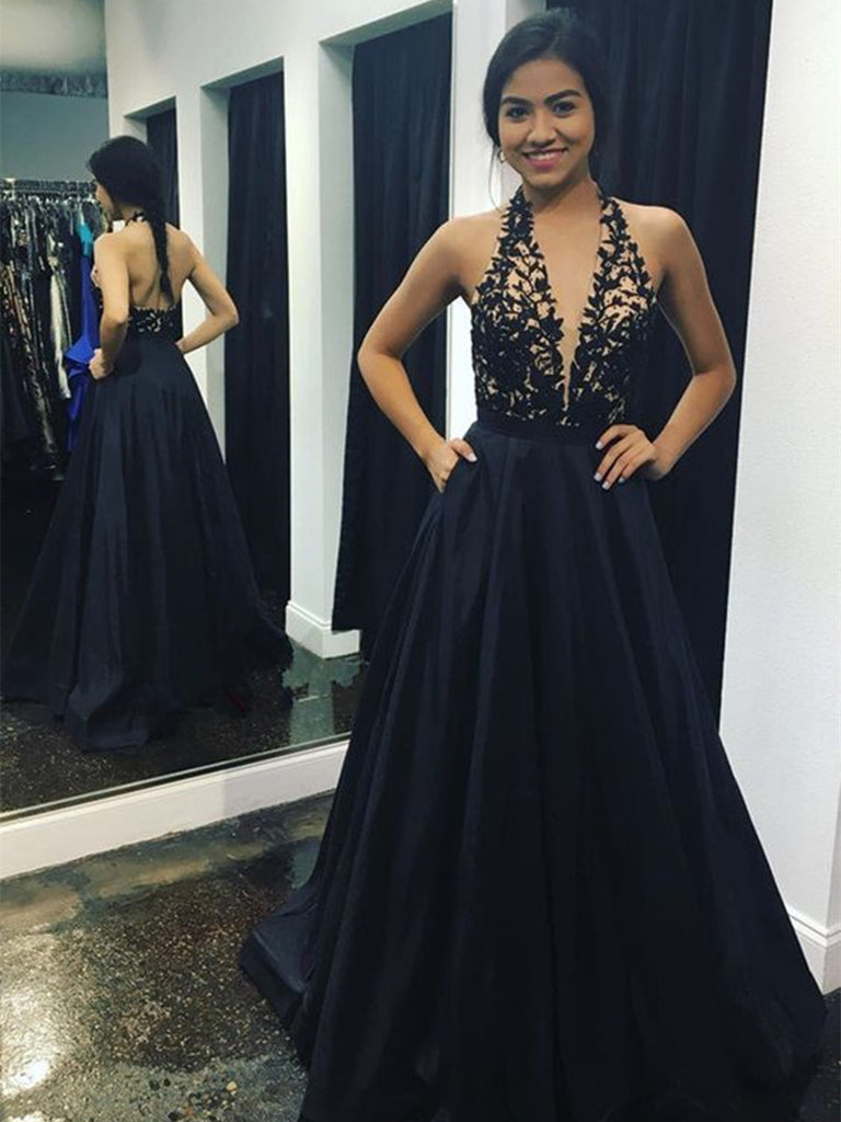 A Line V neck Backless Lace Black Prom Dresses