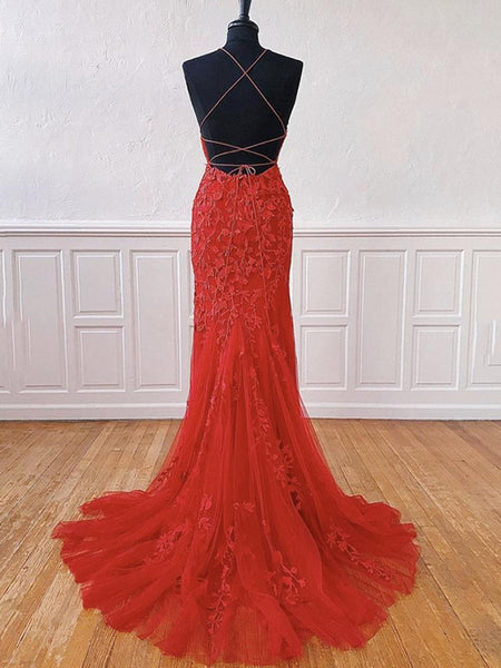 Backless Mermaid Long Red Lace Prom Dresses, Mermaid Red Lace Formal Dresses, Red Lace Evening Dresses