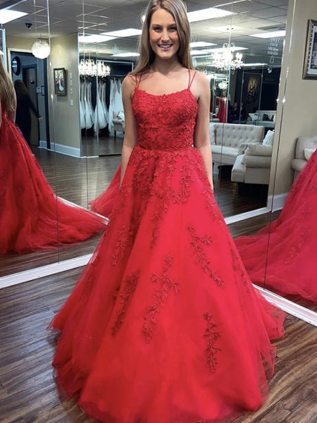 Backless Red Lace Long Prom Dresses, Red Lace Formal Dresses, Red Evening Dresses, Ball Gown