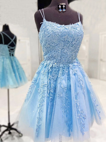 Backless Short Light Blue Lace Prom Dresses, Light Blue Lace Formal Graduation Dresses, Lace Homecoming Dresses