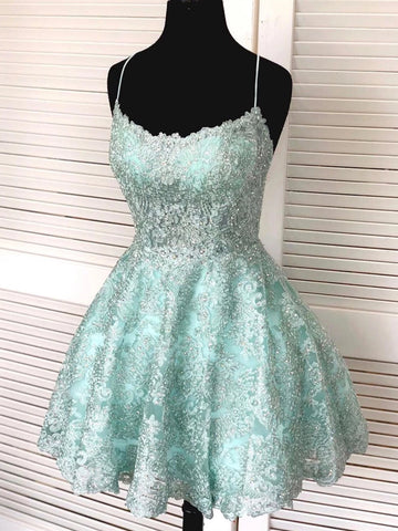 Backless Short Mint Green Lace Prom Dresses with Straps, Mint Green Lace Formal Graduation Homecoming Dresses