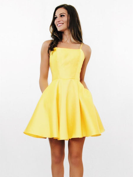 Backless Short Yellow Prom Dresses, Backless Yellow Formal Graduation Homecoming Dresses