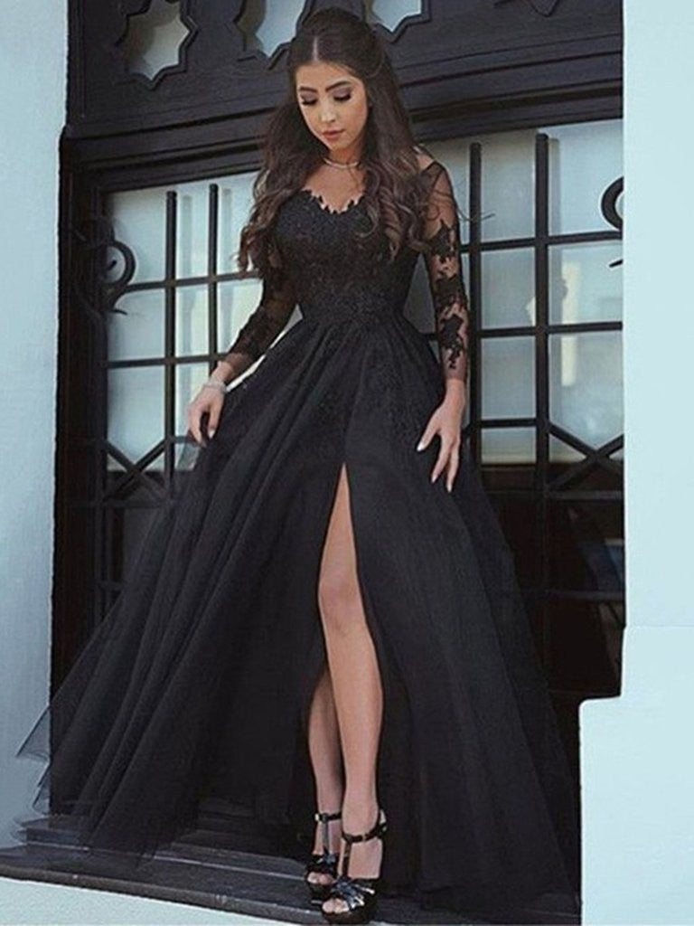 Black A Line Long Sleeves Lace Prom Dress, Black Lace -1380