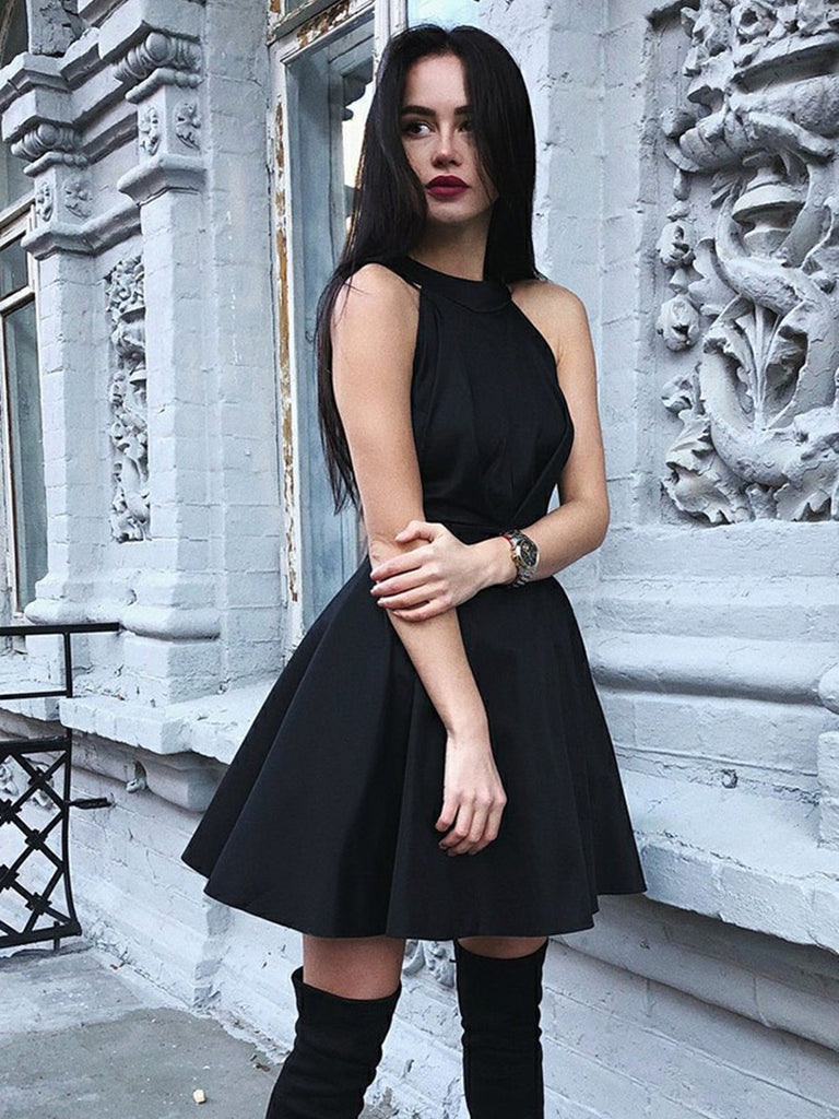 Black A Line Round Neck Pleated Satin Homecoming Dresses Short Prom Dresses, Black Formal Graduation Evening Dresses