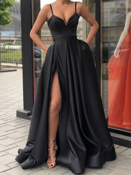 Black A Line Spaghetti Straps Prom Dresses, Long Black Prom Dresses, Black Evening Dresses