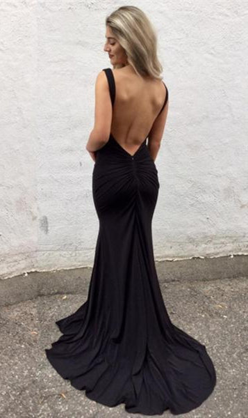 Black Mermaid V Neck Backless Long Prom Dresses with Sweep Train, Mermaid Black Formal Dresses, Evening Dresses