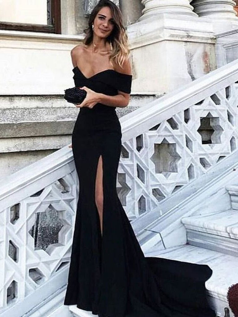Black Off Shoulder Mermaid Prom Dress with Leg Slit, Black Mermaid ...