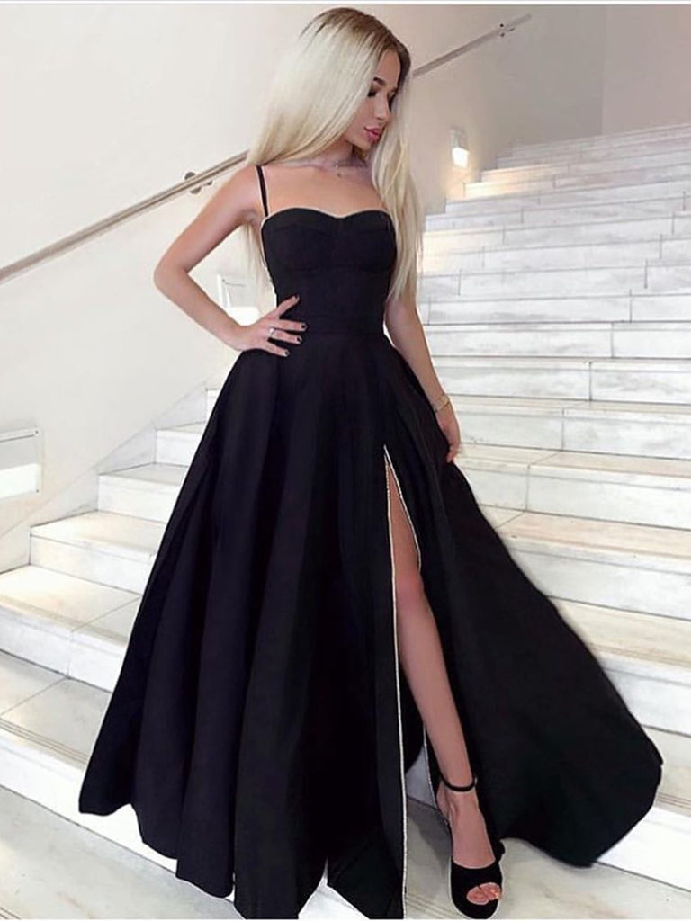 Black Sweetheart Neck Long Prom Dresses with High Split, Black Formal Dresses, Evening Dresses