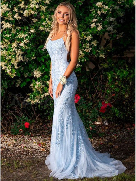 Blue Mermaid Backless Lace Long Prom Dresses, Mermaid Blue Lace Formal Dresses, Evening Dresses