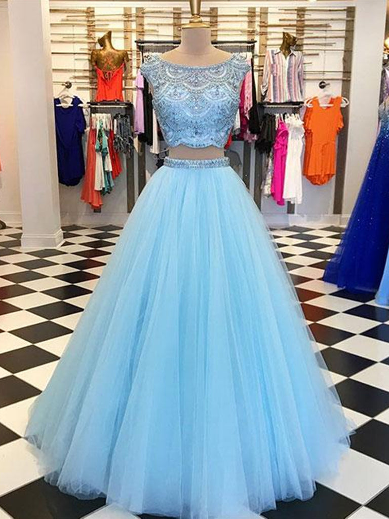 Blue A Line Round Neck Two Pieces Beading Tulle Long Prom Dresses, Two Pieces Blue Formal Dresses, Blue Evening Dresses