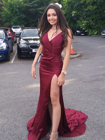 Burgundy V Neck Mermaid Long Prom Dresses with Slit, Mermaid Burgundy Formal Dresses, Burgundy Evening Dresses