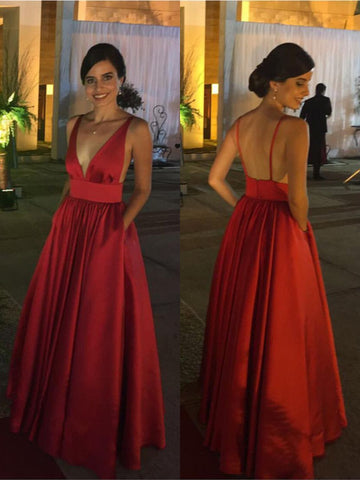 Burgundy A Line Deep V Neck Backless Satin Long Prom Dresses, Burgundy Formal Dresses, Burgundy Bridesmaid Dresses