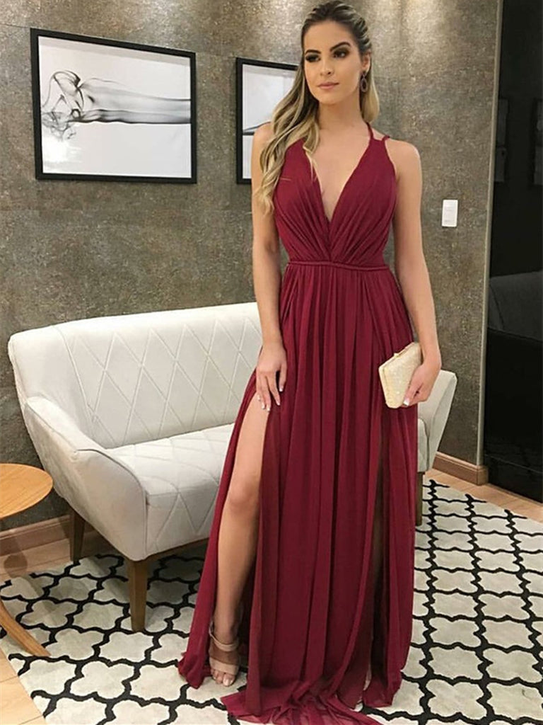 Burgundy A Line V Neck Chiffon Long Prom Dresses with Slit, Burgundy Formal Dresses, Evening Dresses