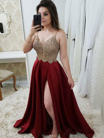 Burgundy A Line V Neck Satin Beaded Long Prom Dresses with Slit, Burgundy Formal Dresses, Burgundy Evening Dresses