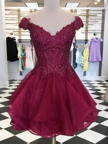 Burgundy Cap Sleeves Lace Short Prom Dresses Homecoming Dresses, Burgundy Lace Formal Dresses, Graduation Dresses, Burgundy Evening Dresses