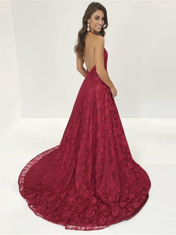 b5ad298e232 ... Burgundy Halter Neck Backless Lace Prom Dresses