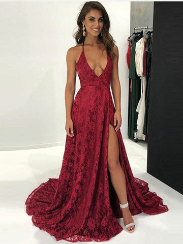 Burgundy Halter Neck Backless Lace Prom Dresses, Backless Burgundy Prom Gown, Evening Dresses