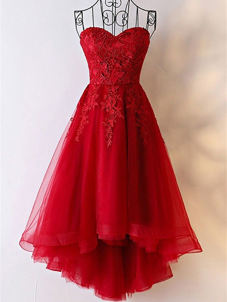 Red High Low Strapless Lace Tulle Prom Dresses, Red Lace Formal Evening Dresses, Red Graduation Dresses