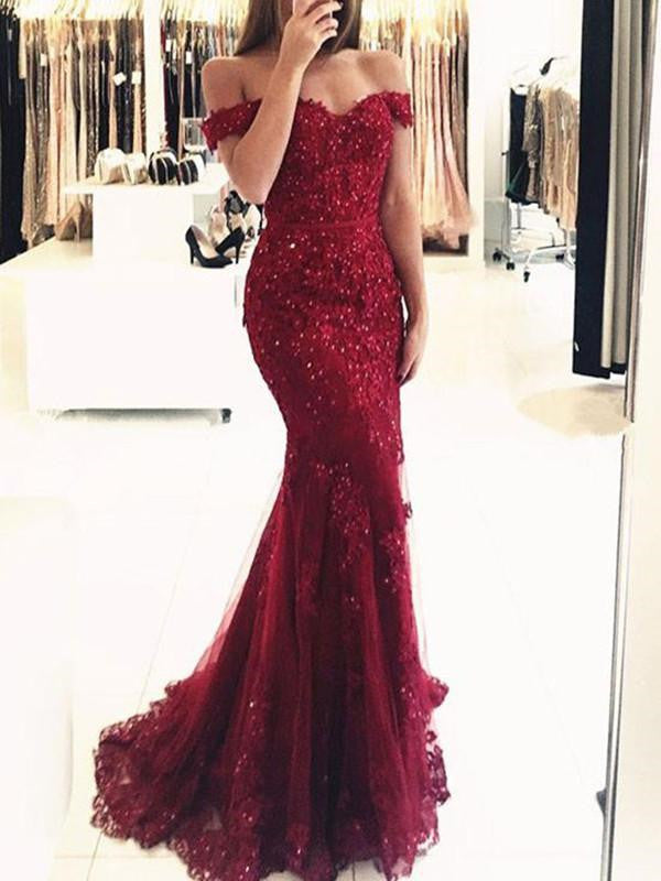 a7315ee9355c Burgundy Off Shoulder Lace Prom Dresses