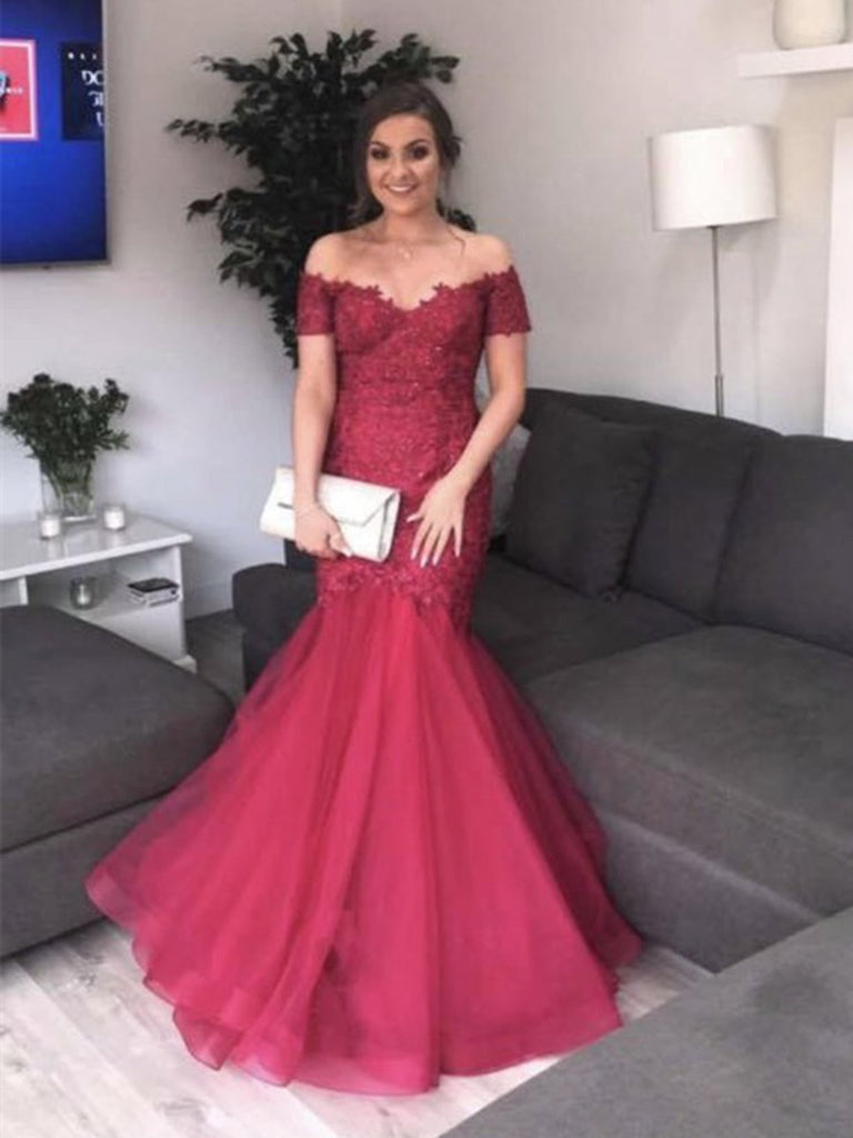 Burgundy Off Shoulder Mermaid Lace Tulle Long Prom Dresses, Burgundy Mermaid Formal Dresses, Ball Gown, Evening Dresses