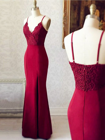 Burgundy V Neck Mermaid Backless Lace Long Prom Dresses, Burgundy Mermaid Bridesmaid Dresses, Burgundy Formal Dresses