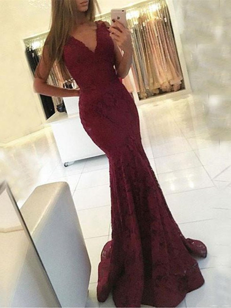 Burgundy V Neck Mermaid Lace Prom Dress, Mermaid Formal Dress, Lace Bridesmaid Dress