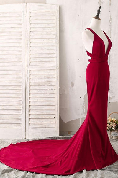 Burgundy V Neck Mermaid Open Back Satin Long Prom Dresses with Sweep Train, V Neck Backless Burgundy Formal Dresses, Burgundy Evening Dresses