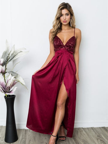 Burgundy V Neck Spaghetti Straps Backless Long Prom Dresses, Burgundy Backless Formal Dresses