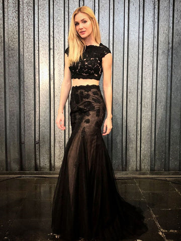 Cap Sleeves 2 Pieces Mermaid Black Lace Long Prom Dresses, Two Pieces Black Lace Formal Dresses, Black Lace Evening Dresses