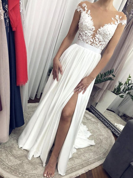 Cap Sleeves Round Neck White Lace Long Wedding Dresses, Cap Sleeves White Lace Formal Evening Prom Dresses