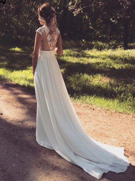 Cap Sleeves Lace Top White Long Wedding Prom Dresses with Slit, Cap Sleeves White Lace Formal Dresses, White Lace Evening Dresses