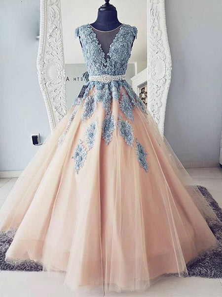 Cap Sleeves Round Neck Blue Lace Pink Tulle Long Ball Gown with Belt, Lace Pink Prom Dresses, Formal Dresses