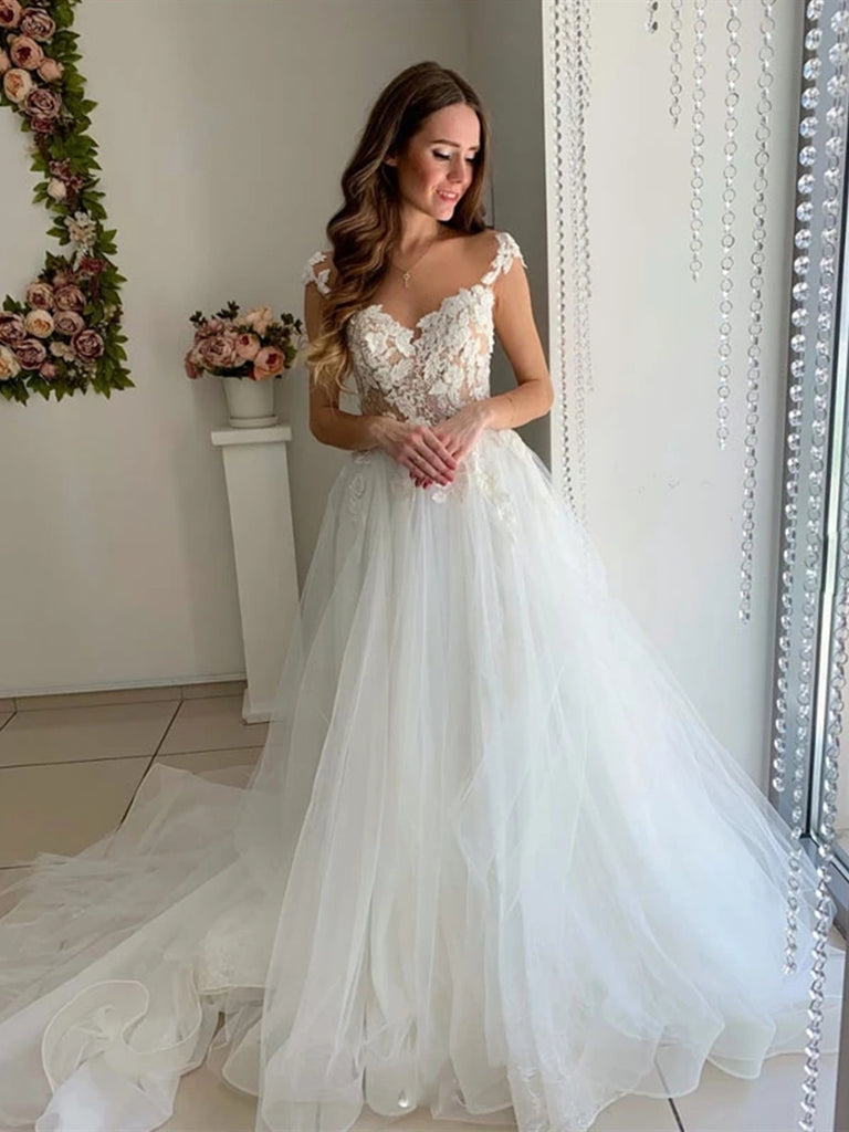 Cap Sleeves White Lace Long Wedding Dresses Prom Dresses, White Lace Formal Dresses, White Evening Dresses