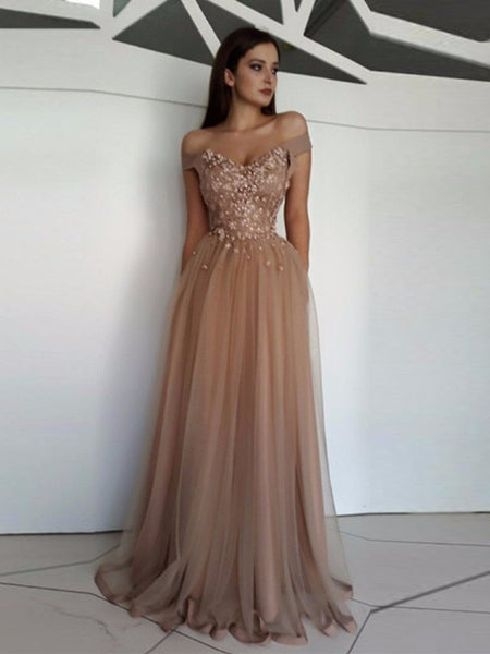 Champagne A Line Off Shoulder Tulle Lace Long Prom Dresses, Off Shoulder Formal Dresses, Graduation Dresses