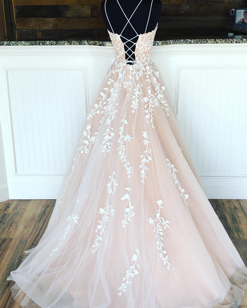 Champagne Long Lace Wedding Dresses, Champagne Lace Formal Graduation Evening Dresses