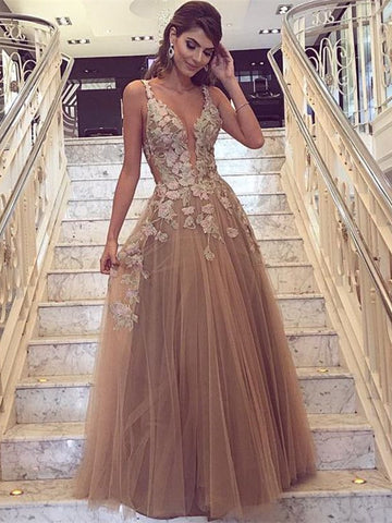 Champagne V Neck Floor Length Lace Long Prom Dresses, Champagne Formal Dresses